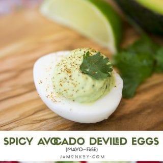 Spicy Avocado Deviled Eggs (Mayo-Free)