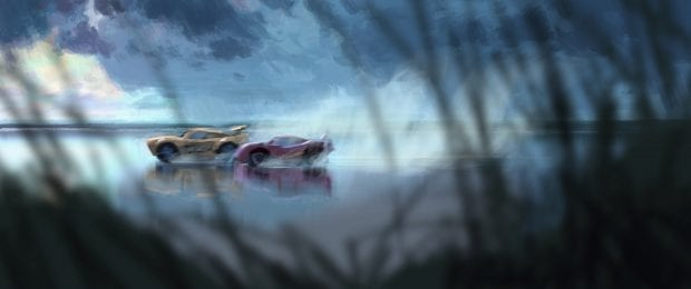 """BACK IN THE GAME — When challenged by a new generation of racers, legendary racer Lightning McQueen (voice of Owen Wilson) turns to an eager young race technician, Cruz Ramirez, to help him compete. Directed by Brian Fee (storyboard artist """"Cars,"""" """"Cars 2"""") and produced by Kevin Reher (""""A Bug's Life,"""" """"La Luna"""" short), """"Cars 3"""" cruises into theaters on June 16, 2017. First Look Concept Art by Noah Klocek / ©2016 Disney•Pixar. All Rights Reserved."""