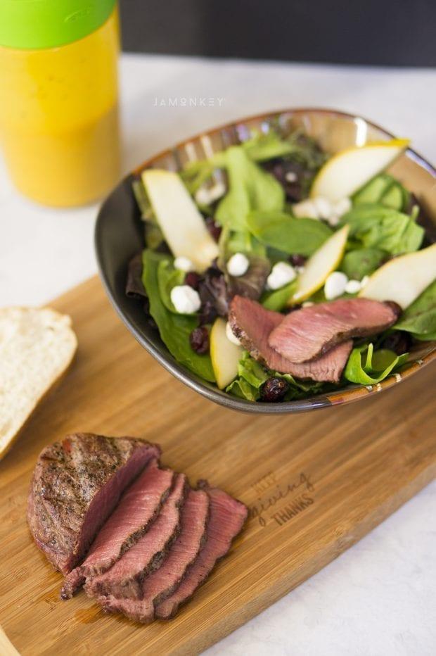Tenderloin, cranberry, and pear salad with honey mustard vinaigrette