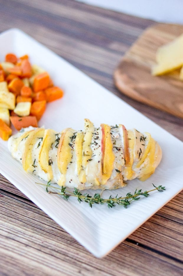 Apple and Gouda Hasselback Stuffed Chicken