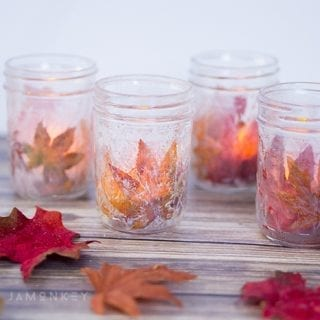 DIY Fall Leaf Votives