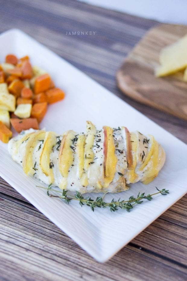 Apple and Gouda Stuffed Hasselback Chicken