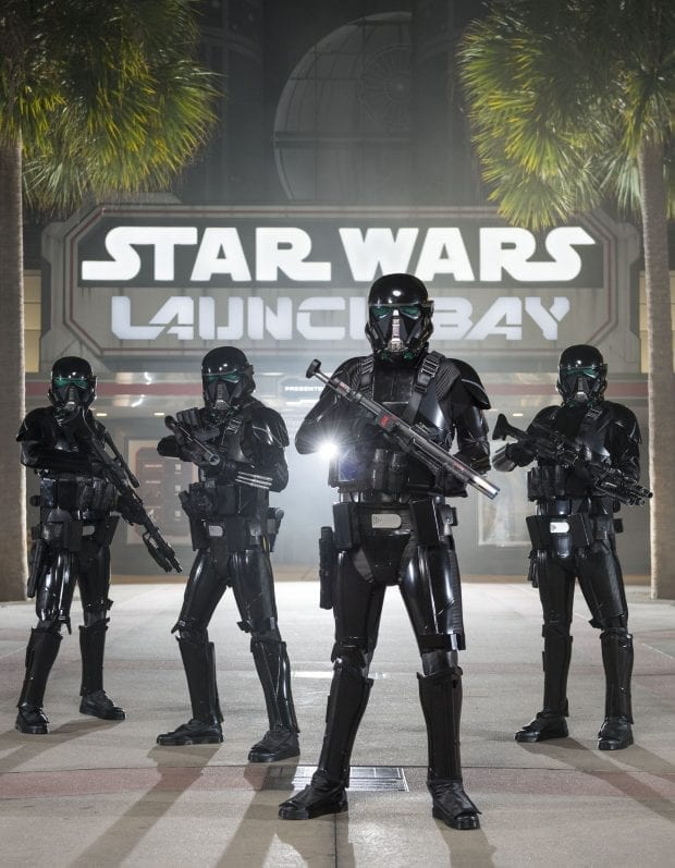 "Starting Dec. 16, guests at Disney's Hollywood Studios will be able to see AWR Troopers from ""Rogue One: A Star Wars Story"" when they join the popular daytime stage show ""Star Wars: A Galaxy Far, Far Away."" Outfitted in their specialized Stormtrooper armor with a dark, ominous gleam, these soldiers serve as bodyguards and enforcers for Director Krennic, a highly-placed officer within the Advance Weapons Research (AWR) division of the Empire. A new Troopers sequence will join the show, which runs daily at Disney's Hollywood Studios at Walt Disney World Resort in Lake Buena Vista, Fla."