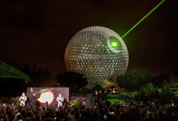 "To celebrate the upcoming release of ""Rogue One: A Star Wars Story,"" the iconic Spaceship Earth at Walt Disney World Resort transforms into the dreaded Death Star from Star Wars. The spectacular moment took place Dec. 5, 2016, and included the announcement of new Star Wars experiences coming to Walt Disney World this month and throughout 2017. Mads Mikkelsen, who plays Galen Erso in ""Rogue One,"" made a jump to hyperspace, arriving just in time for the special event. (Kent Phillips/Walt Disney Co.)"