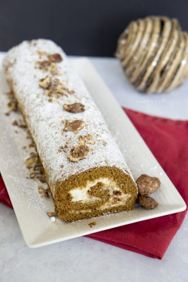 Gingerbread Cake Roll with Nutmeg Cream Cheese Filling