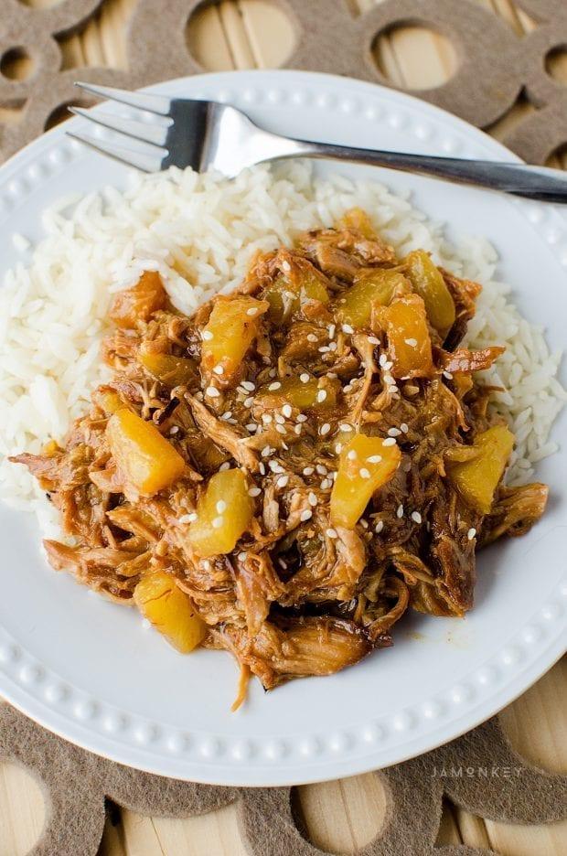 Slow Cooker Pineapple Teriyaki Pulled Chicken Recipe