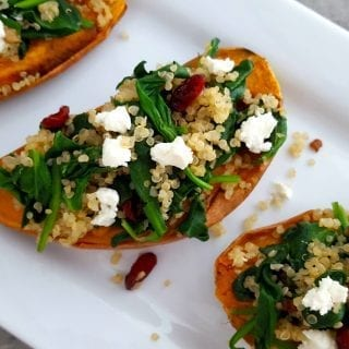 Quinoa & Spinach Stuffed Sweet Potatoes