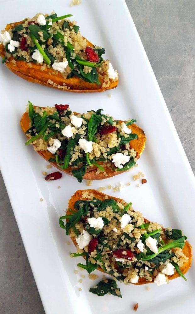Quinoa & Spinach Stuffed Sweet Potatoes