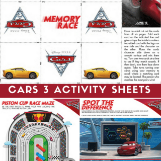 Cars 3 Activity Sheets -Free Printables