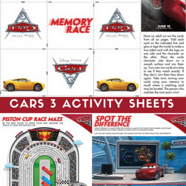 Cars 3 Activity Sheets - Free Printables