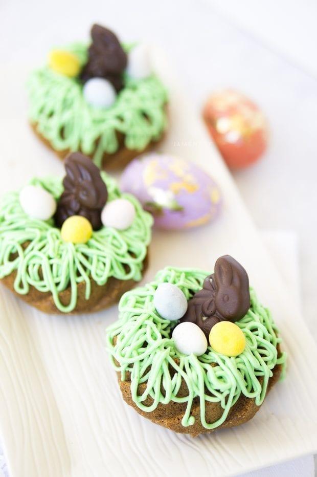 Purple Carrot Easter Bunny Bundtlette Cakes