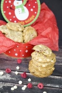 Chewy White Chocolate Raspberry Cookies