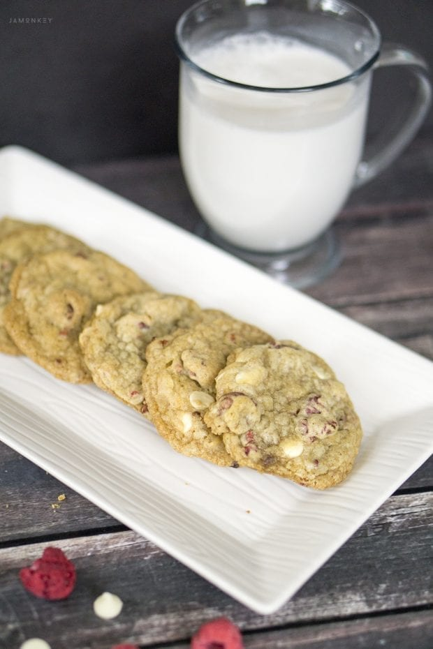 Chewy White Chocolate Raspberry Cookies