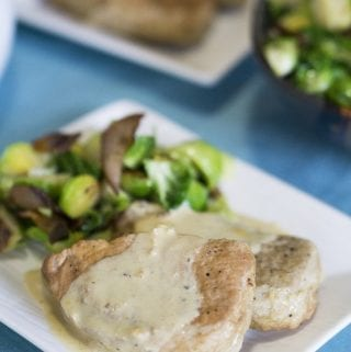 Instant Pot Pork Chops with Mustard Cream Sauce and Smoky Bacon Brussel Sprouts