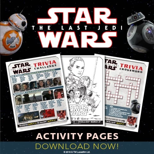 Star Wars The Last Jedi Activity Sheets