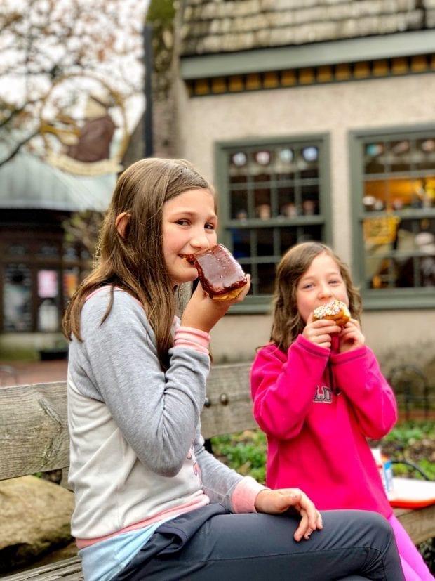 Eating Donuts at The Donut Friar