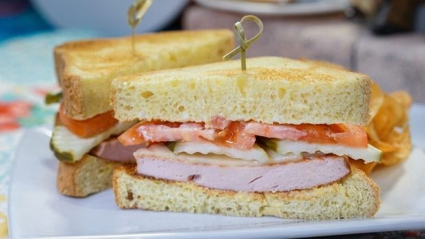 The Carl (fried bologna sandwich) at Carnation Café in Disneyland park