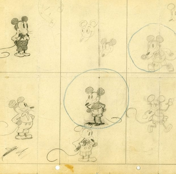 First sketch of Mickey Mouse