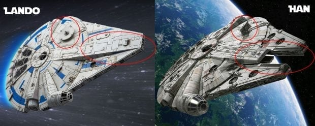 Millennium Falcon Before and After Solo