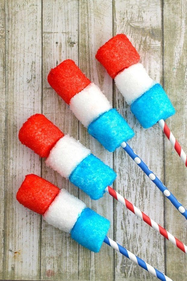 Firecracker Marshmallow Pops