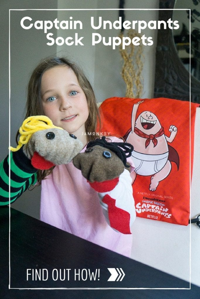 Captain Underpants Sock Puppets craft to make with your kids for the Netflix show.