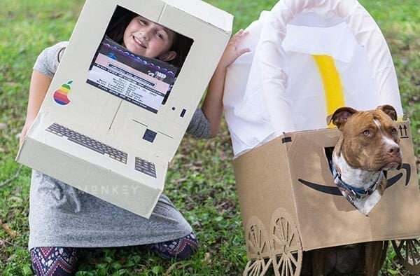 DIY Oregon Trail Box Costume for Kids and Dogs