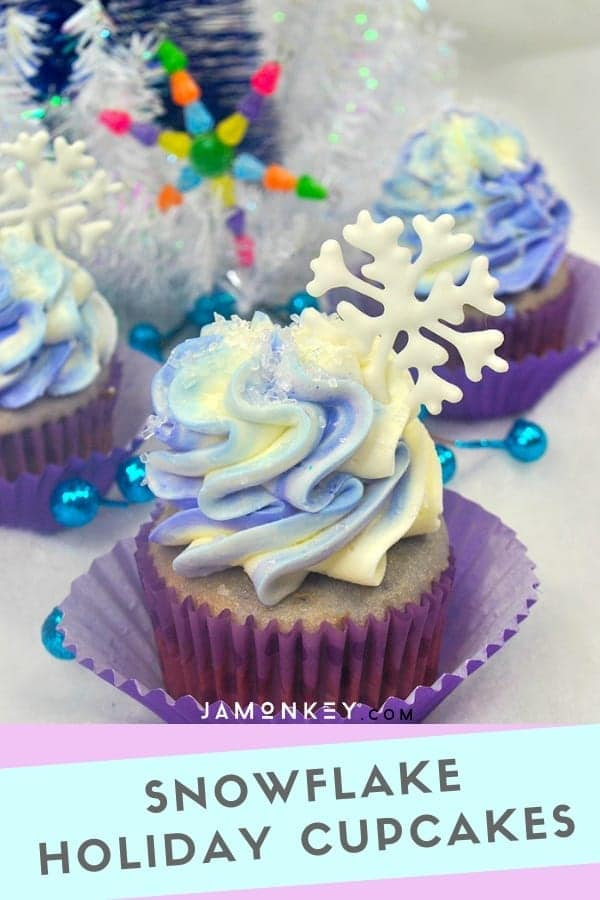 These Snowflake holiday cupcakes are beautiful with sugar and snowflake accents perfect for any Christmas party.
