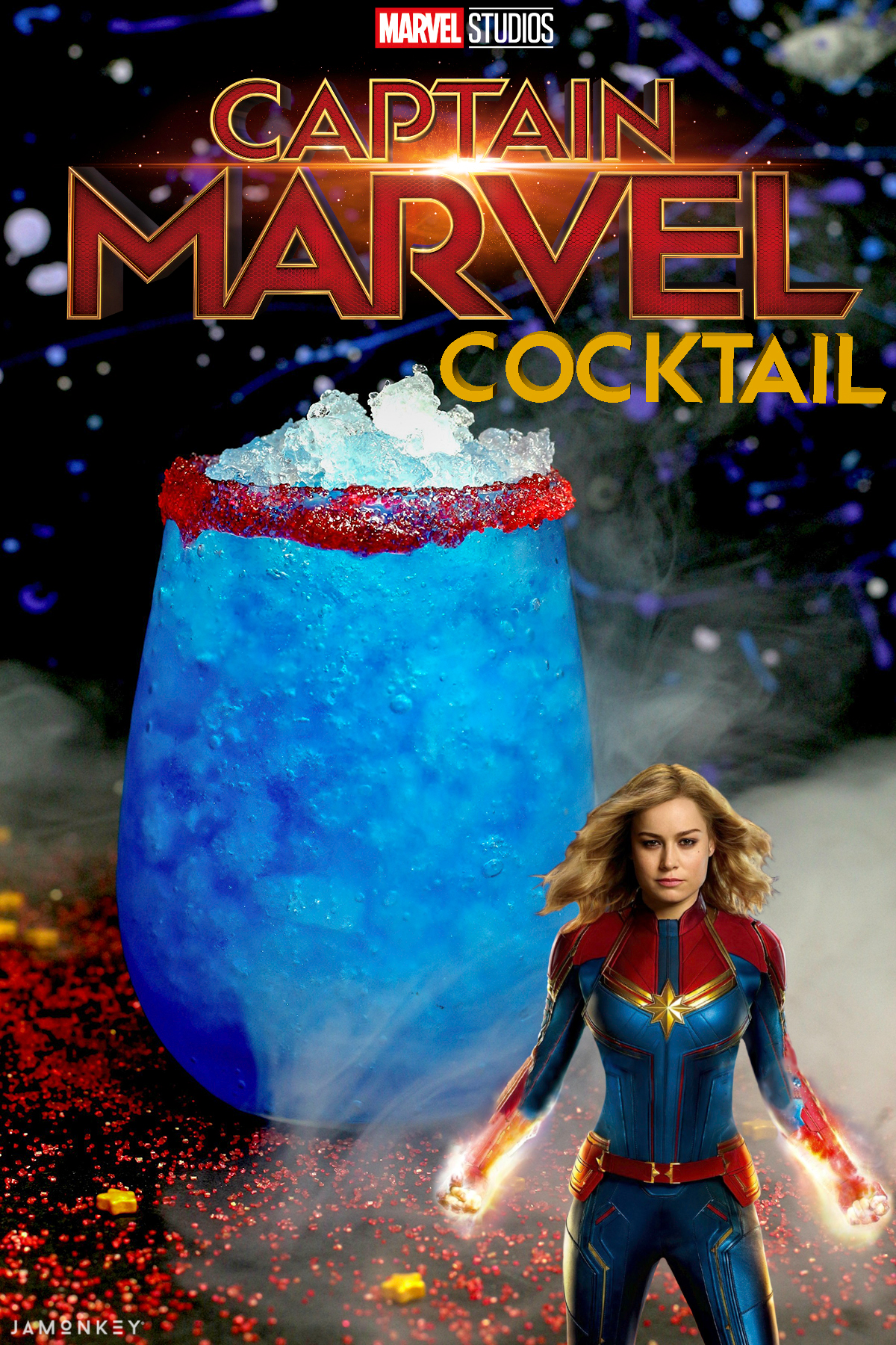 This Captain Marvel Cocktail is out of this world and perfect for Carol Danvers fans looking for a tasty alcoholic drink.  #CaptainMarvel #HigherFurtherFaster #Cocktail #Marvel #DrinkRecipe