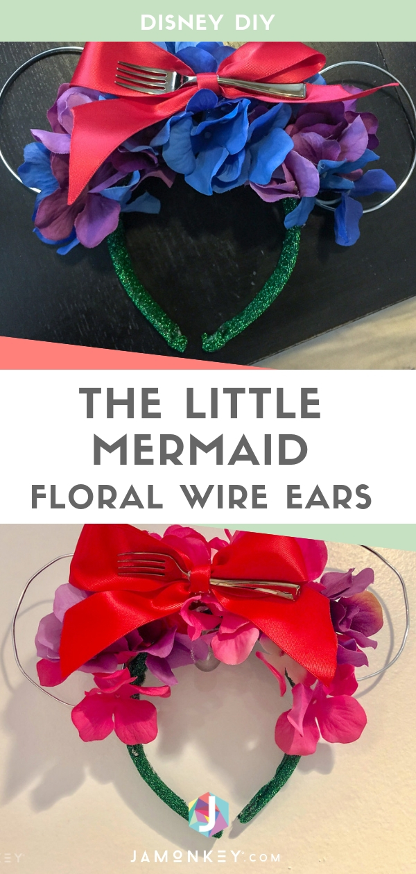 These Disney DIY The Little Mermaid Floral Wire Ears are so cute with a dinglehopper!  #TheLittleMermaid