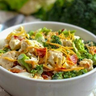 Low Carb Broccoli Cauliflower Salad