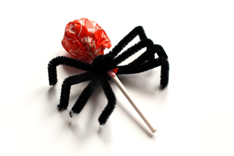 Bend Black Pipe Cleaners on Lollipop