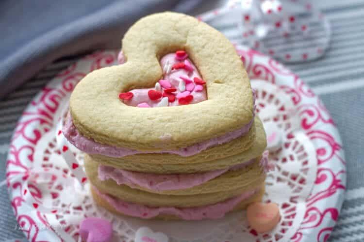 Heart Filled Shortbread Valentine's Cookies