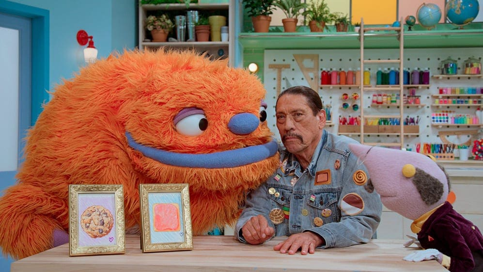 """Episode 6. Heart, Danny Trejo and Mr. Primm in """"Helpsters,"""" now streaming on Apple TV+."""