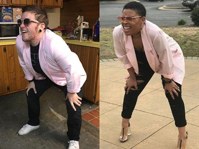 squatting squinting woman meme costume