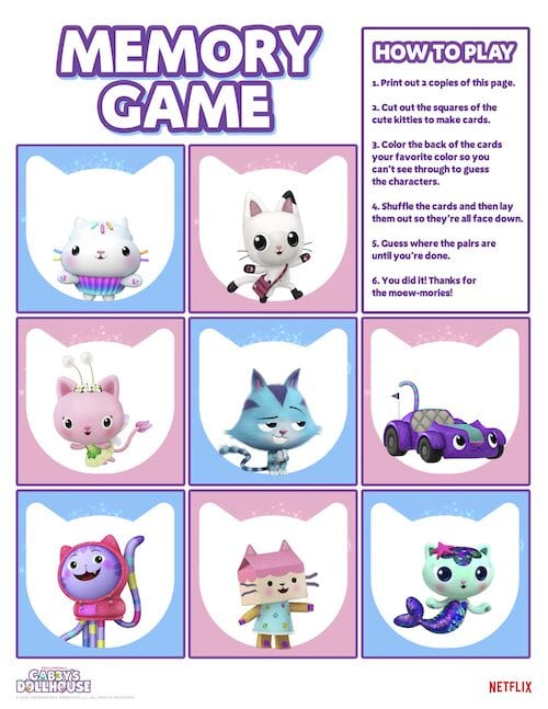 Gabbys Dollhouse Memory Game